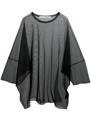 Прозрачная футболка свободного кроя Isabel Benenato. Цвет: чёрный