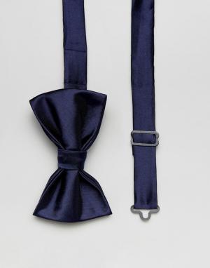 Devils Advocate Темно-синий однотонный атласный галстук-бабочка. Цвет: темно-синий
