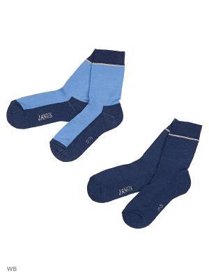 Носки 2 пары с махровой стопой Janus. Цвет: светло-голубой