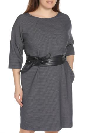 Повседневное платье с поясом AFFARI. Цвет: синий, серый