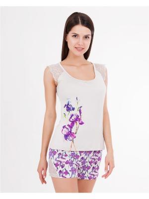 Пижама: майка, шорты Mark Formelle. Цвет: светло-серый, фиолетовый