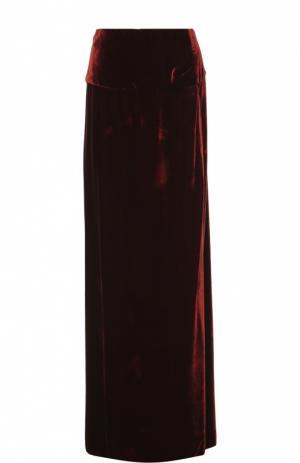 Бархатная юбка-макси с высоким разрезом Dries Van Noten. Цвет: бордовый