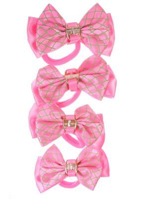 Резинки бантики с волнистой сеткой, розовый, набор 4 шт Радужки. Цвет: розовый