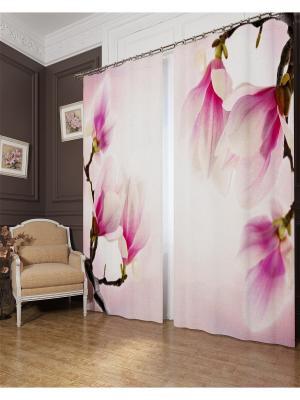 Фотошторы Цветок востока, Блэкаут Сирень. Цвет: розовый, коричневый
