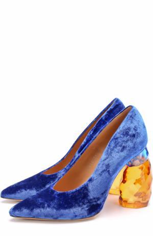 Бархатные туфли на декорированном каблуке Dries Van Noten. Цвет: синий