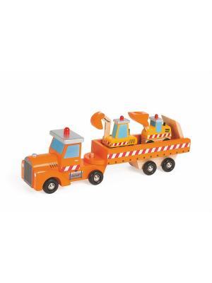 Автовоз и 2 бульдозера (дерево) Janod. Цвет: красный, оранжевый, серый