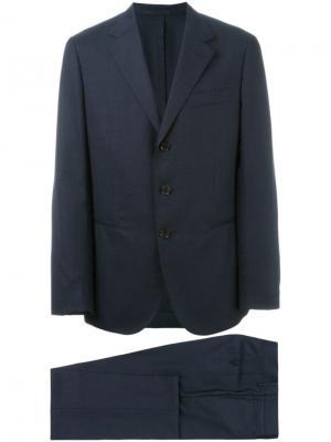 Классический костюм-двойка Caruso. Цвет: синий