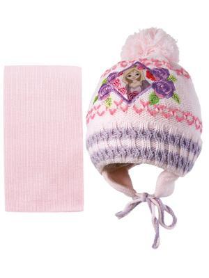 Шапка и шарф Kolad. Цвет: бледно-розовый