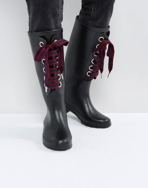 ASOS Резиновые сапоги со сменными шнурками GUMBALL. Цвет: черный