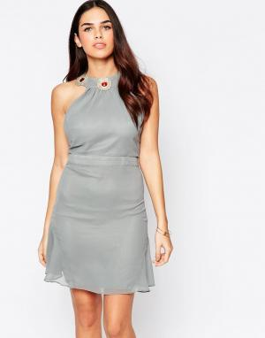 VLabel London Платье мини Albany. Цвет: серый
