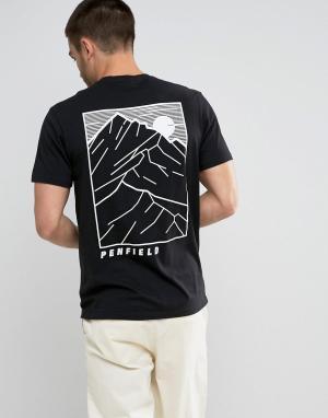 Penfield Черная футболка классического кроя с принтом на спине. Цвет: черный