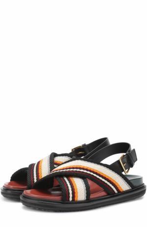 Текстильные сандалии Fussbett Marni. Цвет: оранжевый