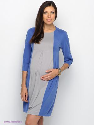Платье UNIOSTAR. Цвет: синий, светло-серый