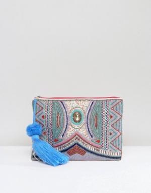 America & Beyond Клатч с декоративной отделкой. Цвет: розовый