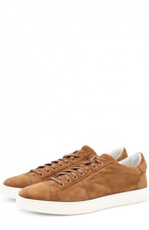 Замшевые кеды на шнуровке Santoni. Цвет: коричневый