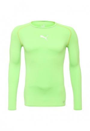 Лонгслив спортивный Puma. Цвет: зеленый