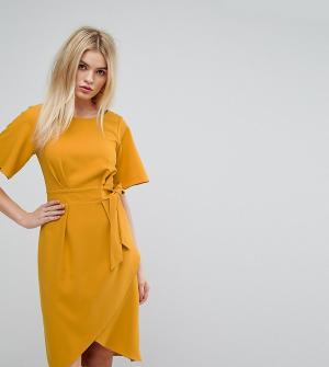 Closet London Платье с рукавами‑кимоно и поясом. Цвет: оранжевый