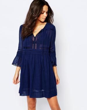 BA&SH Синее платье с присборенной юбкой Colette. Цвет: синий