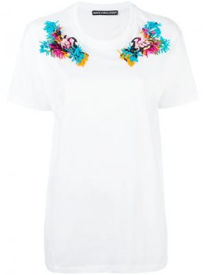 Embroidered shoulder T-shirt Marco Bologna. Цвет: белый
