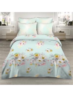 Комплект постельного белья из сатина 1,5 спальный Василиса. Цвет: светло-голубой