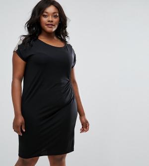 Elvi Присборенное сбоку платье с кружевной отделкой Plus. Цвет: черный