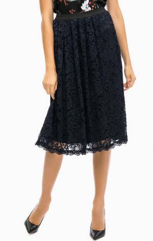 Расклешенная кружевная юбка средней длины MORE &. Цвет: синий