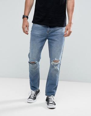 Rollas Выбеленные джинсы с рваной отделкой Stubs Orignal. Цвет: синий