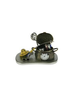 Часы настольные Рыбалка Русские подарки. Цвет: антрацитовый, серый
