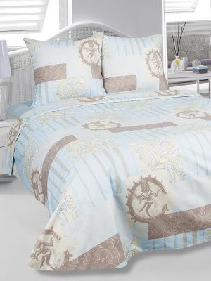 Комплект постельного белья семейный  Бомбей, бязь Тет-а-Тет. Цвет: голубой, бежевый