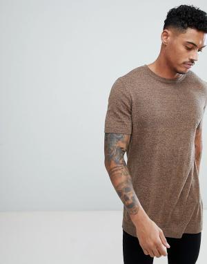 ASOS Светло-коричневая трикотажная футболка. Цвет: рыжий