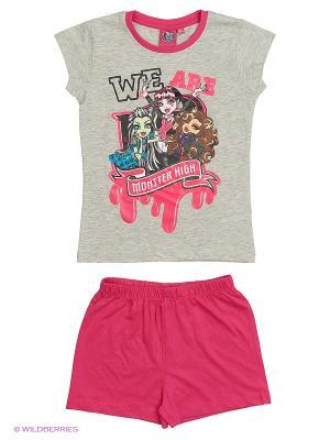 Пижама Monster High. Цвет: серый меланж, фиолетовый