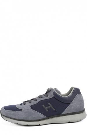 Замшевые кроссовки с текстильной отделкой Hogan. Цвет: серый