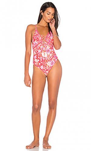 Слитный купальник со шнуровкой babushka Spell & The Gypsy Collective. Цвет: розовый