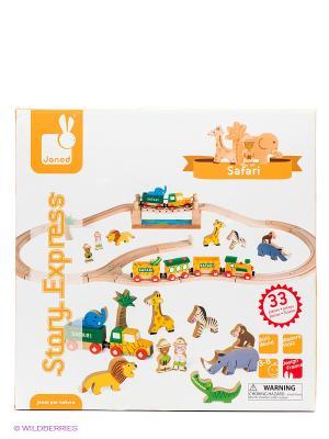 Игровой набор Сафари (12 игрушек, поезд, ж/д 17 элементов) Janod. Цвет: оранжевый