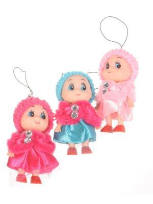 Брелок - подвеска Куколка в шапочке и манто, розово-синий, набор  шт Радужки. Цвет: зеленый, красный
