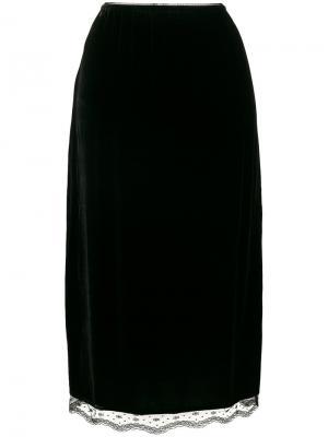 Бархатная юбка А-образного силуэта McQ Alexander McQueen. Цвет: чёрный