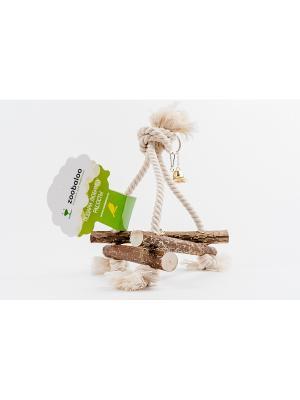 Игрушка для птиц Качели 3D хлопковый шнур с колокольчиком маленькая Zoobaloo. Цвет: коричневый
