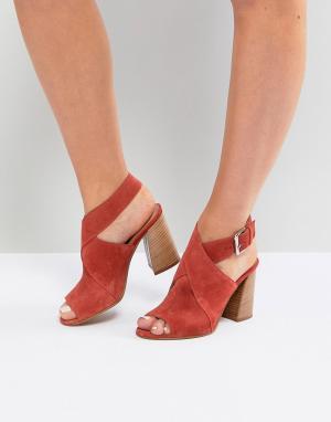 ASOS Замшевые босоножки на каблуке TAKOTA. Цвет: оранжевый