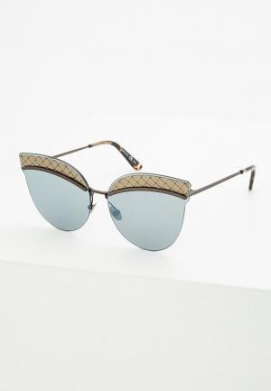 Очки солнцезащитные Bottega Veneta. Цвет: серебряный