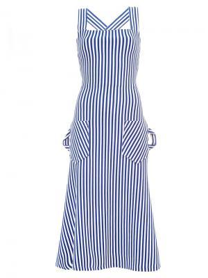 Striped cross back dress Richard Malone. Цвет: синий