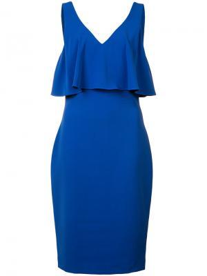 Многослойное платье Badgley Mischka. Цвет: синий