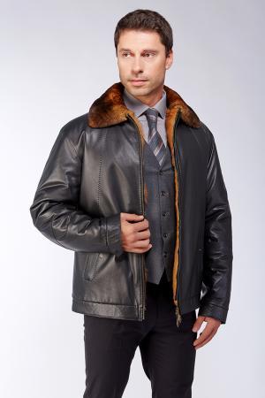 Мужская короткая кожаная куртка меху Bos Bison. Цвет: черный
