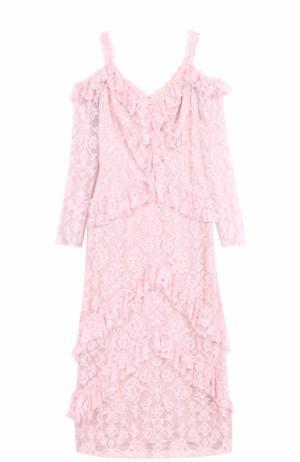 Кружевное приталенное платье с открытыми плечами Tadashi Shoji. Цвет: светло-розовый
