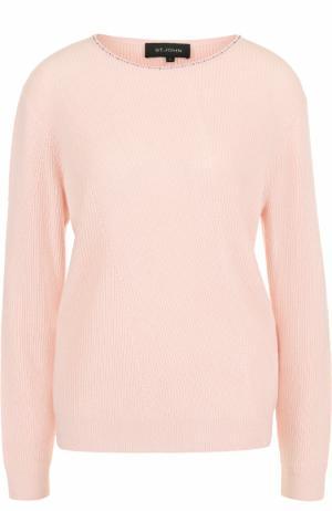 Кашемировый пуловер прямого кроя с круглым вырезом St. John. Цвет: светло-розовый