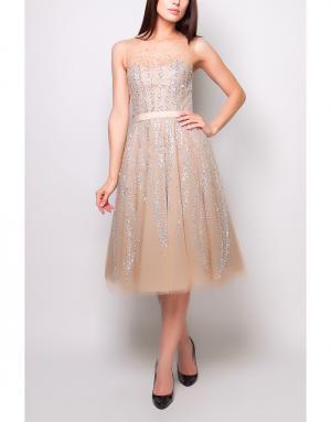 Платье с пайетками Reem Acra. Цвет: бежевый