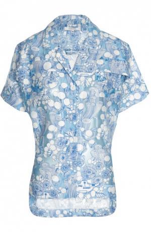 Блуза с укороченным рукавом и контрастным принтом Carven. Цвет: синий