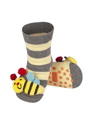 Носки детские с игрушкой Soxo. Цвет: серый, бежевый