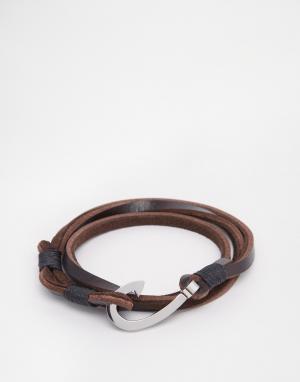 Seven London Коричневый кожаный браслет с крючком. Цвет: коричневый