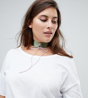 ASOS Curve Ожерелье-чокер цвета хаки со шнуровкой. Цвет: мульти