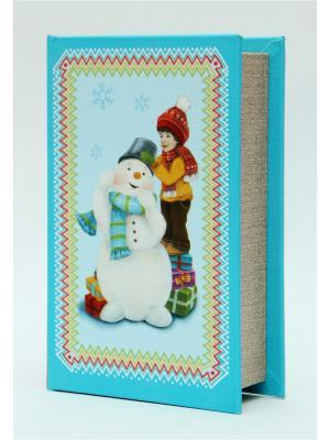 Декоративная шкатулка Снеговик и мальчик(17*11*5чс, из МДФ) Magic Time. Цвет: голубой